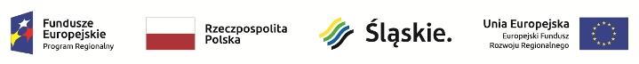 Logotypy: Fundusze Europejskie Program Regionalny - Rzeczpospolita Polska - Śląskie - Unia Europejska Europejski Fundusz Rozwoju Regionalnego